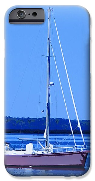 Transportation Ceramics iPhone Cases - Anchored in the Bay iPhone Case by Laurie Pike