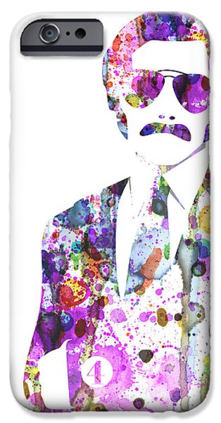 Tv Show iPhone Cases - Anchorman Watercolor iPhone Case by Naxart Studio
