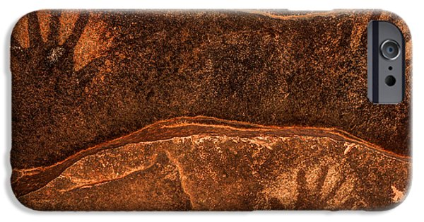 Reverse Art iPhone Cases - Ancient Anasazi Sandstone Hand Prints iPhone Case by Gary Whitton
