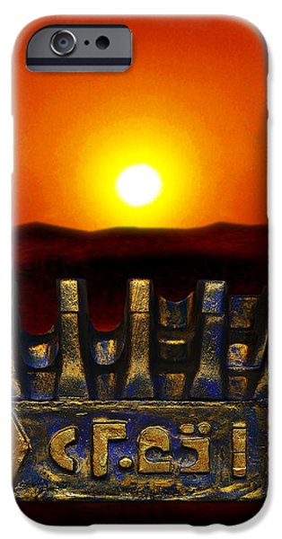Sunset Sculptures iPhone Cases - Mysterious  Ancient  Artifact  iPhone Case by Hartmut Jager