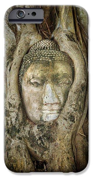 Tree Roots iPhone Cases - Ancient Buddha Entwined Within Tree Roots in Thailand iPhone Case by Artur Bogacki