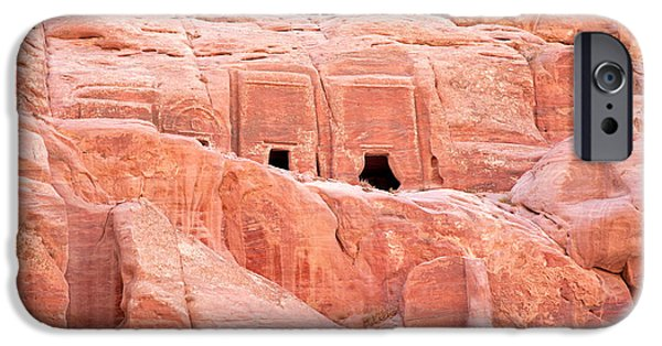 Archaeology iPhone Cases - Ancient buildings in Petra iPhone Case by Jane Rix