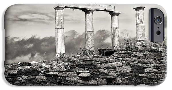 Delos iPhone Cases - Ancient Columns on Delos Island iPhone Case by John Rizzuto