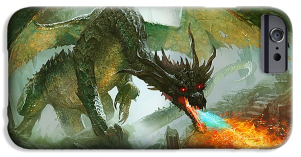 Fantasy Digital Art iPhone Cases - Ancient Dragon iPhone Case by Ryan Barger