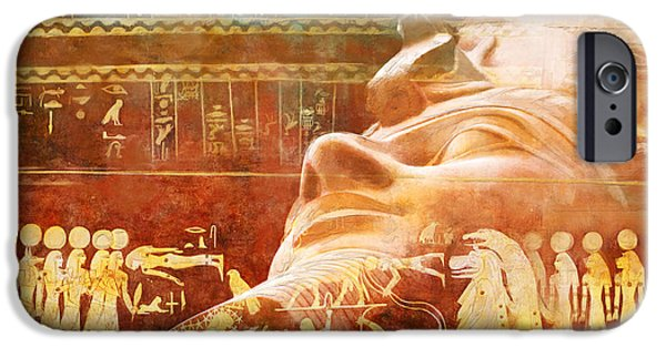 Thebes iPhone Cases - Ancient Egypt Civilization Detail 00 iPhone Case by Catf
