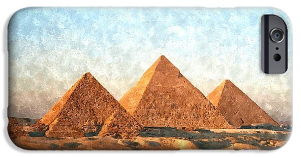 Ancient Paintings iPhone Cases - Ancient Egypt the Pyramids at Giza iPhone Case by Gianfranco Weiss