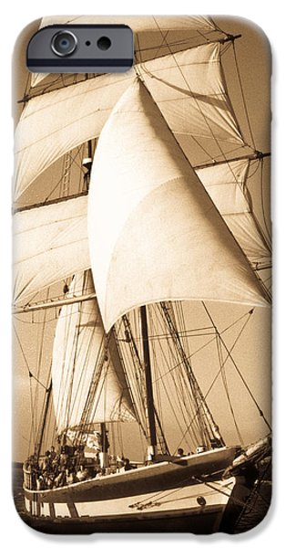Pirate Ships iPhone Cases - Ancient Pirate Ship in Sepia iPhone Case by Douglas Barnett