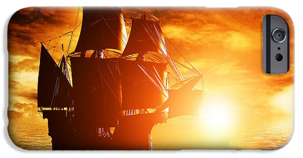 Pirate Ship iPhone Cases - Ancient pirate ship sailing on the ocean at sunset iPhone Case by Michal Bednarek