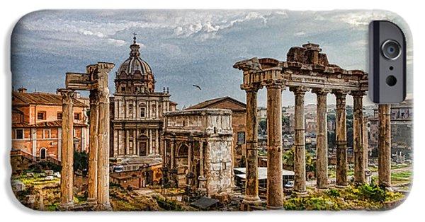 Old Digital Art iPhone Cases - Ancient Roman Forum Ruins - Impressions Of Rome iPhone Case by Georgia Mizuleva