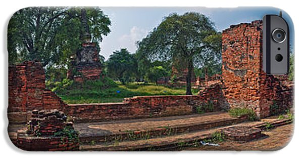 Ruin iPhone Cases - Ancient Ruins Of Ayutthaya Historical iPhone Case by Panoramic Images
