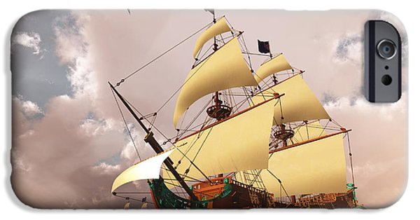 Tall Ship iPhone Cases - Ancient Ships iPhone Case by Corey Ford