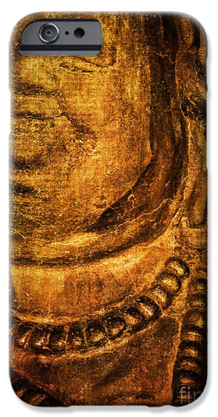 Tibetan Buddhism iPhone Cases - Ancient Smiling Buddha iPhone Case by Roselynne Broussard