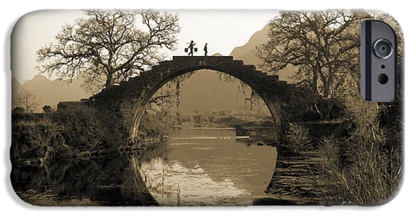 Bridge iPhone Cases - Ancient stone bridge iPhone Case by King Wu