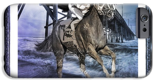 Horse Racing Digital Art iPhone Cases - And Away We Go II iPhone Case by Betsy A  Cutler