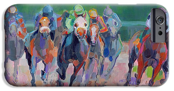 Jockeys iPhone Cases - And Down the Stretch They Com iPhone Case by Kimberly Santini