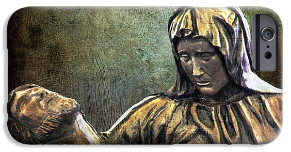 Mother Mary Digital Art iPhone Cases - And Mary wept iPhone Case by Lianne Schneider