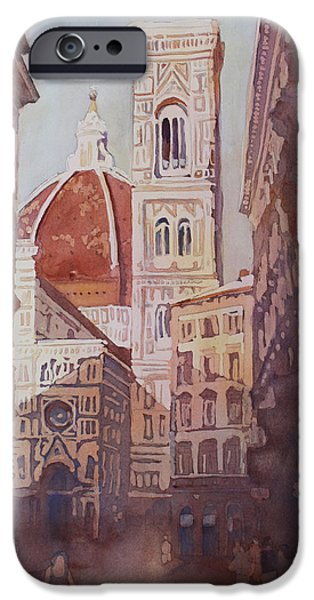 Alley Paintings iPhone Cases - And Suddenly The Duomo iPhone Case by Jenny Armitage