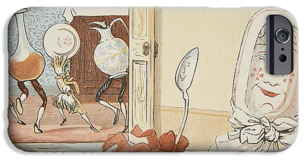 Escape Paintings iPhone Cases - And the Dish Ran Away with the Spoon iPhone Case by Randolph Caldecott
