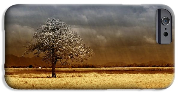 Landscapes Digital Art iPhone Cases - And the rains came iPhone Case by Holly Kempe