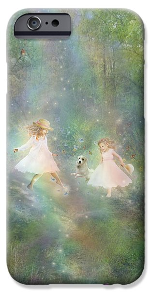 Little Girl Mixed Media iPhone Cases - And They Danced And Danced iPhone Case by Carrie Jackson