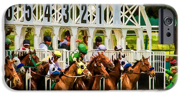 Horse Racing Digital Art iPhone Cases - And Theyre Off iPhone Case by Bill Gallagher