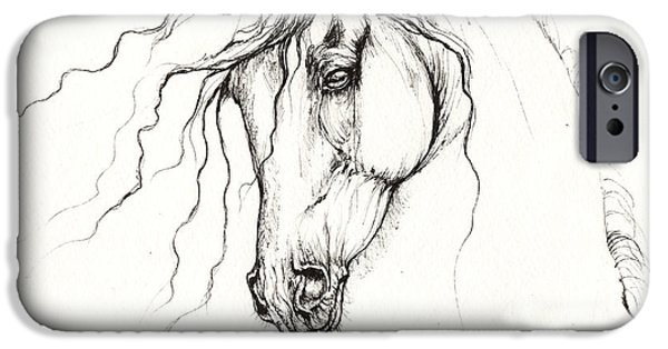 Meadow Drawings iPhone Cases - Andalusian Horse Drawing 04 11 2013 iPhone Case by Angel  Tarantella