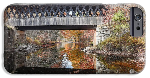 Covered Bridge iPhone Cases - Andover Covered Bridge iPhone Case by Edward Fielding