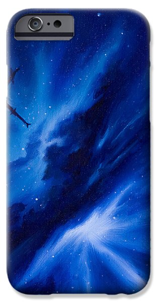 Dark Matter Paintings iPhone Cases - Andreas Nebula iPhone Case by James Christopher Hill