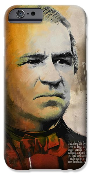 Thomas Jefferson Paintings iPhone Cases - Andrew Johnson iPhone Case by Corporate Art Task Force