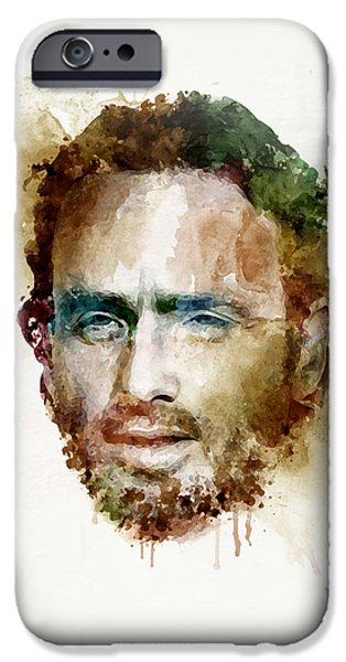 Lincoln iPhone Cases - Andrew Lincoln watercolor iPhone Case by Marian Voicu
