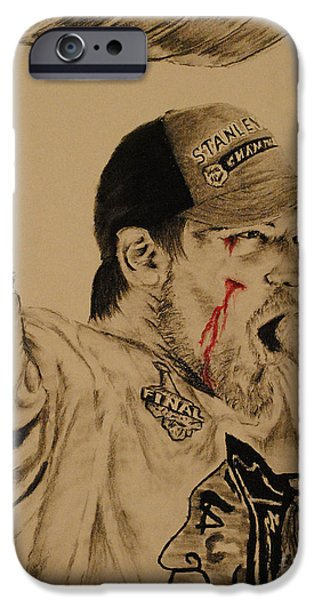 Hockey Drawings iPhone Cases - Andrew Shaw iPhone Case by Tim Brandt