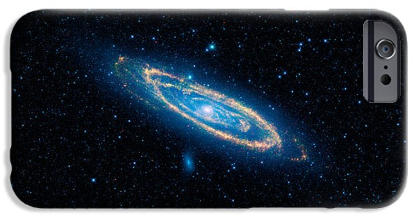 Fireworks Drawings iPhone Cases - Andromeda Galaxy and Companions iPhone Case by Celestial Images