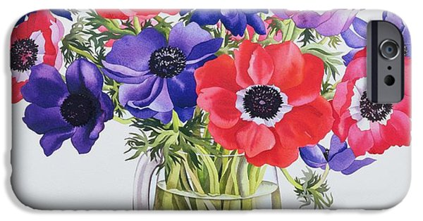 Floral Photographs iPhone Cases - Anemones In A Glass Jug, 2007 Wc On Paper iPhone Case by Christopher Ryland