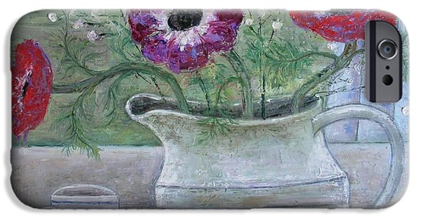 Flower Bouquet iPhone Cases - Anemones In White Jug, 2013, Oil On Panel iPhone Case by Ruth Addinall
