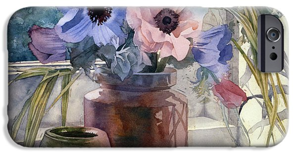 Indoor Still Life iPhone Cases - Anemones iPhone Case by Julia Rowntree