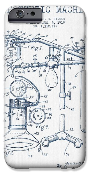 Device iPhone Cases - Anesthetic Machine patent from 1919 - Blue Ink iPhone Case by Aged Pixel