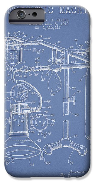 Hospital iPhone Cases - Anesthetic Machine patent from 1919 - Light Blue iPhone Case by Aged Pixel