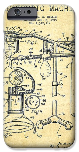 Device iPhone Cases - Anesthetic Machine patent from 1919 -Vintage iPhone Case by Aged Pixel