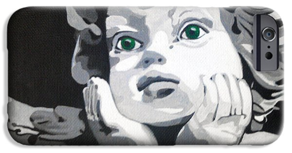 Statue Portrait Paintings iPhone Cases - Ange aux yeux verts iPhone Case by Morgan  Veissiere