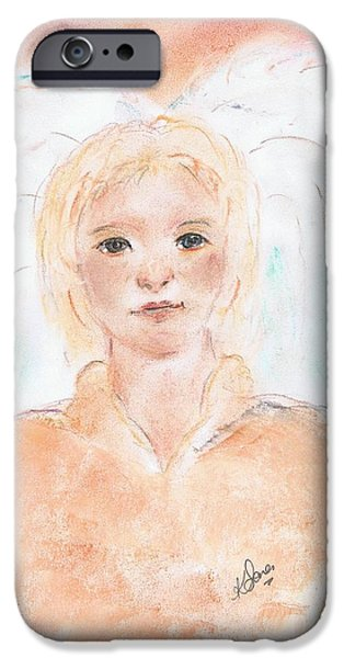 Innocence Pastels iPhone Cases - Angel A  iPhone Case by Karen J Jones