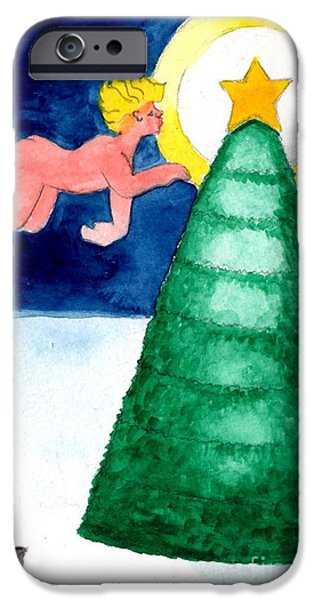 Night Angel Paintings iPhone Cases - Angel and Christmas Tree iPhone Case by Genevieve Esson