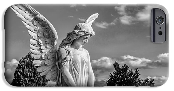 Statue iPhone Cases - Angel at the Heredia General Cemetery iPhone Case by Andres Leon