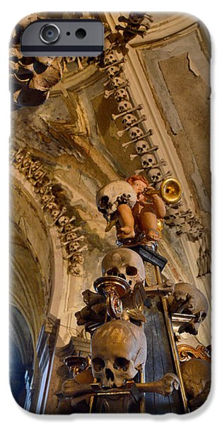 Czech Republic Digital iPhone Cases - Angel Blowing a Gold Trumpet. Skulls And Crossbones. iPhone Case by Andy Za