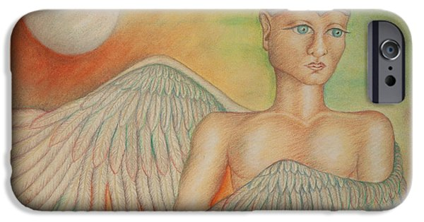 Poetic Pastels iPhone Cases - Angel Boy iPhone Case by Claudia Cox