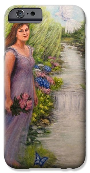 Garden Scene Paintings iPhone Cases - Angel Daughter iPhone Case by Lin McCoy