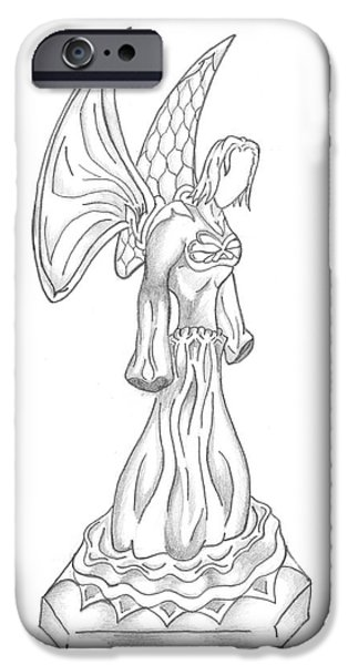 Angelic Drawings iPhone Cases - Angel Drawing iPhone Case by Minding My  Visions by Adri and Ray