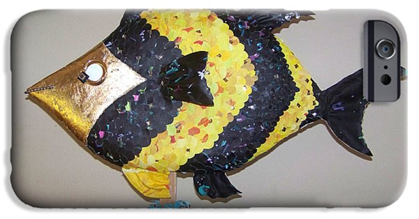 Stripes Sculptures iPhone Cases - Angel Fish iPhone Case by Deborah Smith