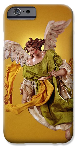 Model iPhone Cases - Angel, From The Christmas Creche And Tree Terracotta & Cloth iPhone Case by Neapolitan School