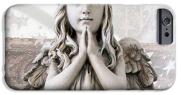 Art By God iPhone Cases - Angel Girl Praying - Christian Angel Art - Little Girl Praying Angel Art - God Answers Prayers iPhone Case by Kathy Fornal