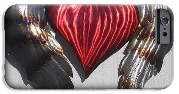 Love Sculptures iPhone Cases - Angel Heart wall sculpture iPhone Case by Robert Blackwell